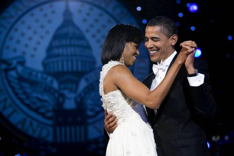 President Barack Obama dances with First Lady Michelle Obama at The Neighborhood Ball at the Convention Center in Washington, D.C.