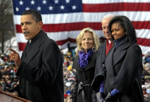 President-elect Barack Obama addresses the crowd in Wilmington, Del., as his wife, Michelle Obama, Vice President-elect Joe Biden and his wife, Jill Biden, listen. The Obamas and Bidens made a ceremonial rail trip from Philadelphia and Wilmington to Washington.