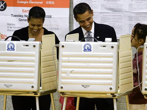 Democratic presidential candidate Sen. Barack Obama and his wife Michelle Obama cast their ballots at Shoesmith Elementary School.