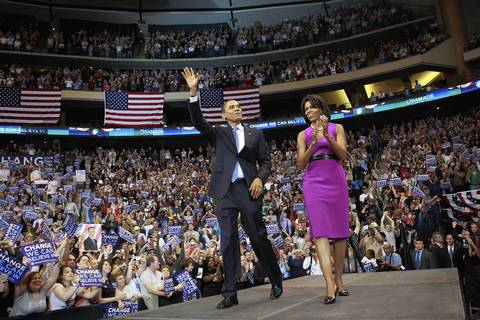 Sen. Barack Obama and Michelle Obama take the stage at the Xcel Energy Center in St. Paul, Minn., in on the night of the South Dakota and Montana primaries.