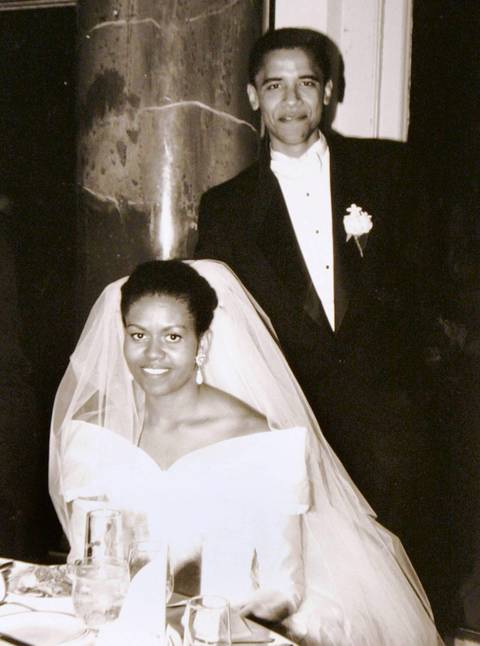 Barack Obama and his bride Michelle Robinson on their wedding day, Oct. 3, 1992, in Chicago.