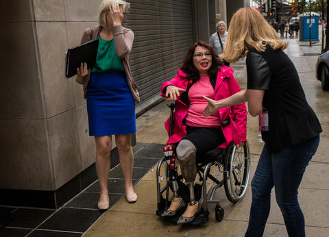 U.S. Rep. Tammy Duckworth arrives to participate in Chicago Ideas Week at Morningstar in Chicago on Oct. 13, 2014.