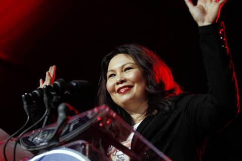 U.S. Rep. Tammy Duckworth speaks on Jan. 19, 2013, at a service summit on the National Mall in Washington during the National Day of Service, part of the events surrounding President Barack Obama's inauguration.