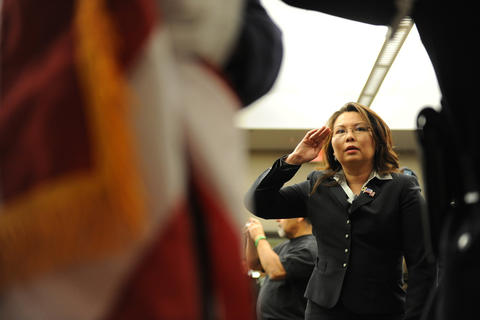 Tammy Duckworth, director of the Department of Veterans Affairs for Illinois, attends the Nov. 11, 2008, Veterans Day Ceremony at Jesse Brown VA Medical Center.