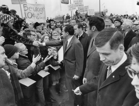 Feb. 6, 1970: President Richard Nixon shakes hands with people at the Schaumburg Airport en route to Hanover Park.