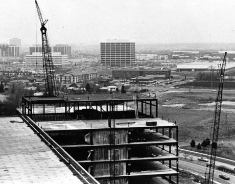Feb. 16, 1984: This photo was taken from the Woodfield Corporate Center, looking south at a then-vacant area where offices would later be built. Woodfield Mall can be seen in the background.