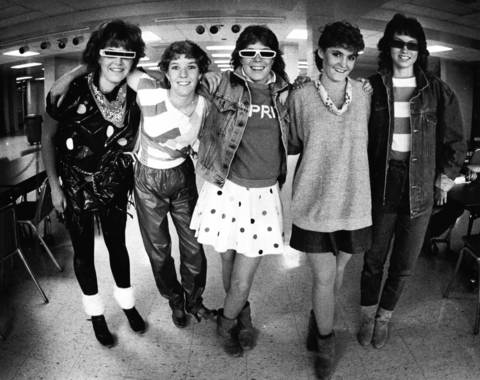 "Oct. 12, 1983: Schaumburg High School students in what the original caption describes as ""punk dress: part of the new wave."""
