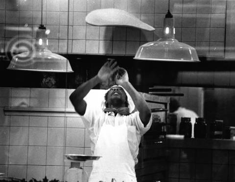 April 18, 1989: Jesse Lard tosses pizza dough at Sbarro's Italian Restaurant at Woodfield Mall.