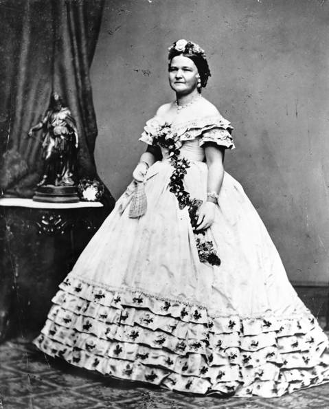 Mary Todd Lincoln, the president's wife, is shown in her ball gown for the inauguration. Clothes worn by presidents' wives have always drawn great interest from the American public.