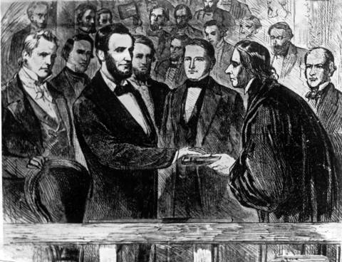 A painting shows the second inauguration of President Abraham Lincoln as he takes the oath of office March 4, 1865, in front of the U.S. Capitol in Washington. The oath was administered by Chief Justice Salmon Chase, a former rival of Lincoln and a former secretary of the Treasury.