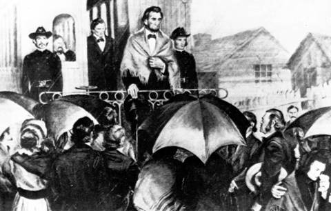 In this drawing from an Illinois State Library collection, President Abraham Lincoln stands on the rear of a Great Western Railway train in Springfield on Feb. 10, 1861, en route to Washington.