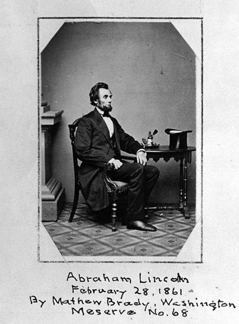 Abraham Lincoln on Feb. 28. 1861, less than a week before his first inauguration.