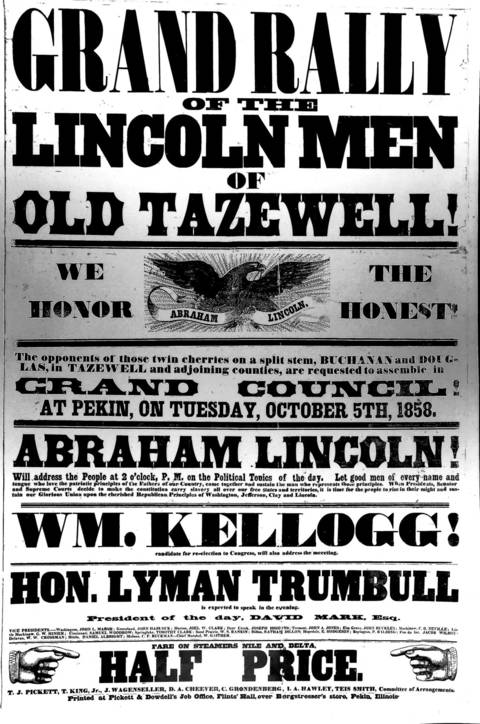 A 1858 poster for Lincoln's barbecue and rally in Tazewell County, Ill.