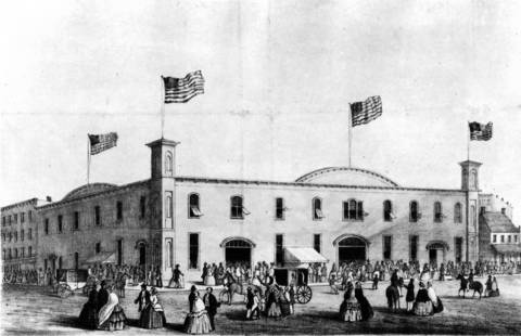The Wigwam, at Lake Street and Wacker Drive, is where Republican delegates met in 1860 and nominated Abraham Lincoln for president. According to reports at the time, when Lincoln secured the nomination, the crowd went wild and a cannon on the roof was fired.