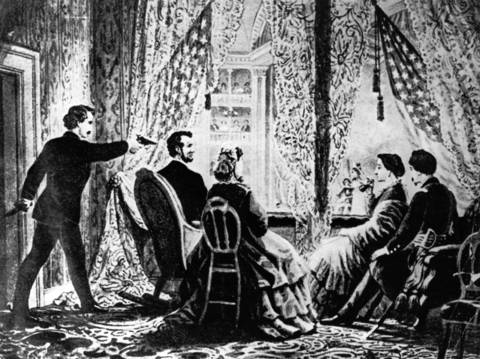 "A drawing illustrates the assassination of President Abraham Lincoln on April 14, 1865, by actor John Wilkes Booth. Lincoln was shot in the head while attending the comedy, ""Our American Cousin,"" at Ford's Theatre in Washington. Four people were hanged after being convicted of conspiring with Booth."
