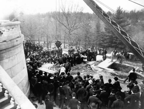 The coffins of Abraham and Mary Todd Lincoln await reburial in the rebuilt Lincoln Monument in Springfield's Oak Ridge Cemetery in 1901. Lincoln died in 1865, several hours after being shot at Ford's Theatre in Washington by John Wilkes Booth. Andrew Johnson became the nation's 17th president.