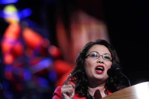Illinois Congressional candidate Tammy Duckworth addresses delegates.