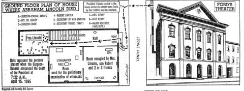 Chicago Tribune illustration and diagram shows the floor plan of the house where President Lincoln died after being shot at Ford's Theatre. Published April 15, 1965, marking the centennial of the assassination.