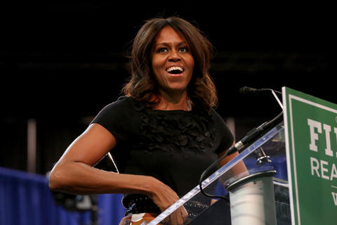 First lady Michelle Obama appears at a rally Oct. 7, 2014, at UIC Pavilion in support of Gov. Pat Quinn's re-election.