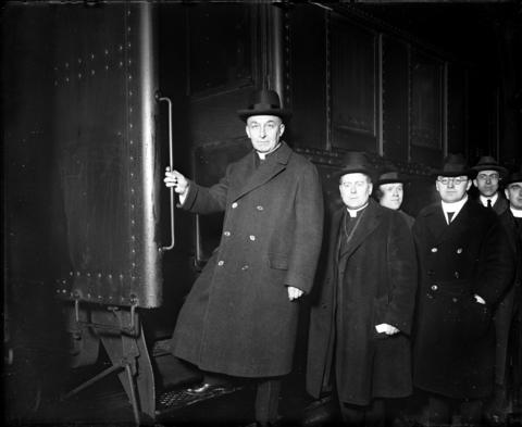 Archbishop George Mundelein leaves Chicago on March 6, 1924, from the Baltimore and Ohio station headed to New York, where he would sail for Rome to become a cardinal in 1924. Mundelein, originally from New York, moved to Chicago in 1916 when he was formally installed as archbishop.
