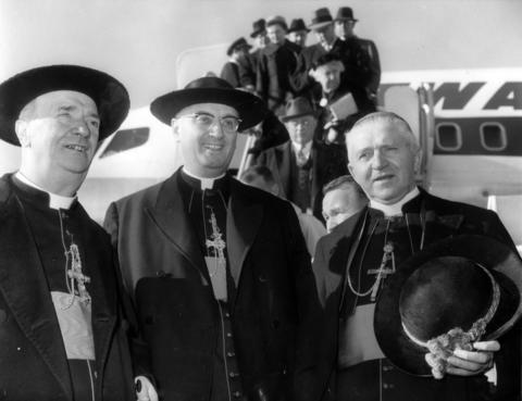 Cardinal-designate Albert Meyer, center, is shown arriving to Rome on Dec. 11, 1959, as he is met by Cardinal Alfredo Ottaviani, left, and Cardinal-designate Aloisius Muench.