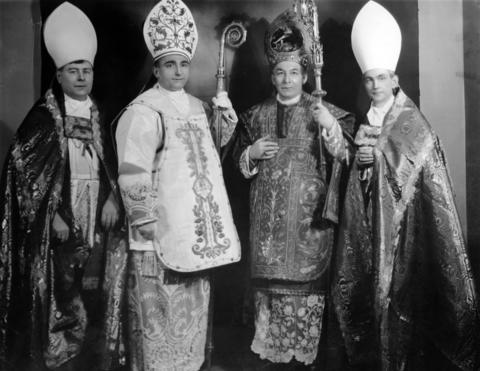 Bishop Edward Hoban of Rockford, from left, Bishop James Griffin of Springfield, Cardinal George Mundelein and Archbishop Samuel Stritch of Chicago are pictured at the time of the consecration of Griffin in Chicago on Feb. 26, 1924.
