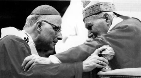 Archbishop Francis George, left, receives the pallium from Pope John Paul II on June 29, 1997, during an ancient rite at the Basilica of St. Peter's in Vatican City. George was installed in 1997 and was elevated to cardinal in 1998. He resigned in 2014.