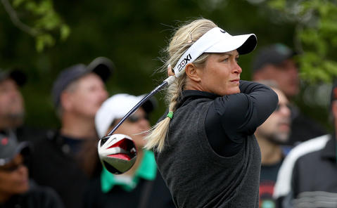 Suzann Pettersen takes her tee shot off 18 in the final round of the Kingsmill Championship Sunday in Williamsburg.