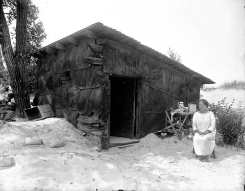 """According to an interview with the Tribune in 1916, Alice Gray lived in a little 10 x 20 shack she named """"Driftwood."""" The shack had a sand-floor and was abandoned when she moved in. Undated photo."""
