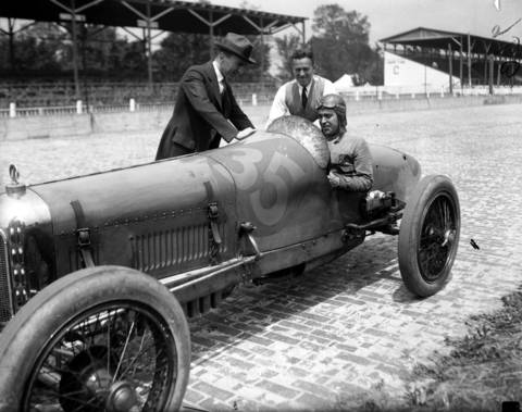 Bennett Hill in a Miller Special, with fellow drivers Dario Resta, center, and Capt. Eddie Rickenbacker, left, at the Indianapolis 500 race track in the 1920s. Hill started eight times in the Indianapolis 500, coming in fifth place in 1924 driving a Miller.