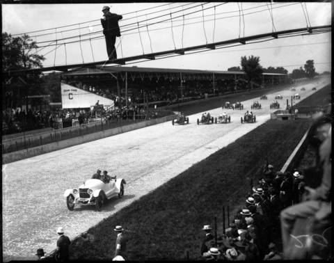 The 6th International 300-mile Sweepstakes Race, known as the Indianapolis 500, at Indianapolis, Ind., on May 30, 1916. The 1916 race was the only year management scheduled a 120 lap race, 300 miles, instead of the usual 500 miles. Of the 21 cars entered in the race, Dario Resta was the winner with riding mechanic Bob Dahnke. The next year the race was canceled due to World War I.