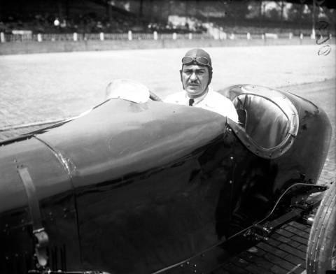 """Leon Duray, known as the """"Flying Frenchman"""", in an Overland Special for the 1923 Indianapolis 500. Duray competed in eight Indy 500 races, winning in 1925 and 1928."""