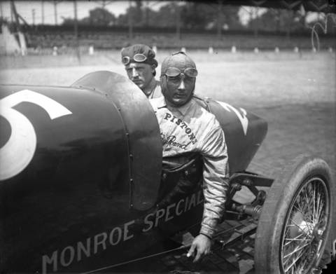 Race car driver Wilbur D'Alene, right, and mechanic Billy Salmon, left, in 1922 at the Indianapolis Motor Speedway. D'Alene had driven in the 1916 Indianapolis 500 with a car bearing the number 13, but after a crash in 1917 he asked for a luckier number.