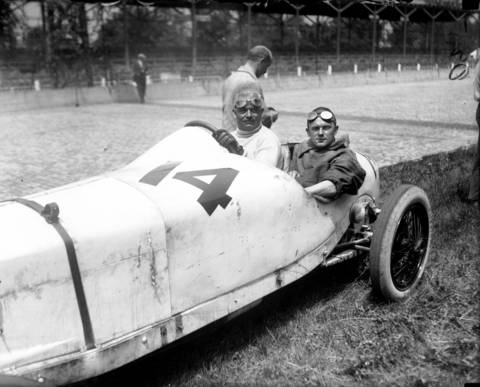 """German driver Christian Lautenschlager and his mechanic Jacob Krauss in a Mercedes Special at the 1923 Indianapolis 500. According to the Tribune, """"The first thrill (of the race) came when Christian Lautenschlager lost control of his German Mercedes at the south turn while on his sixteenth lap, and struck the retaining wall. His mechanician, Jacob Krauss was badly bruised and taken to the field hospital. The veteran pilot asked for a relief driver, but later returned to finish the race."""" Lautenschlager finished 23rd."""