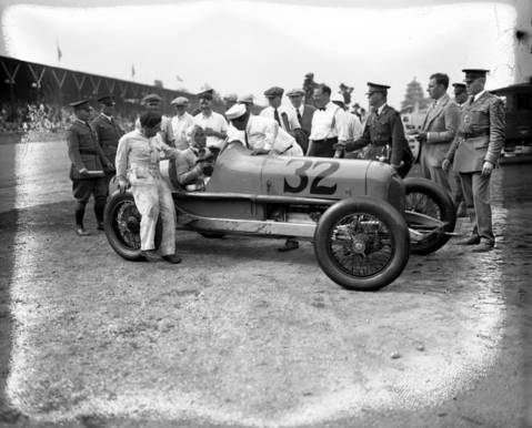 George Souders, in a Duesenberg, is surrounded after winning the Indianapolis 500 on May 30, 1927. Souders was a rookie that led the last 51 laps of the race with an average speed of 97.54 miles an hour. Editors note: there is damage to this negative.