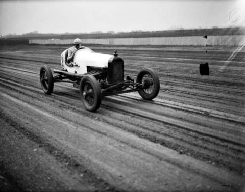 Chicagoan Billy Arnold won the Indianapolis 500 in 1930 but crashed the following year just a few miles from a second victory. Arnold was seriously injured in the crash at Indy and used Roby Speedway, seen here, as conditioning grounds to get his stamina back, circa May 1, 1932. Roby Speedway was a one-mile oval dirt track in Hammond, Indiana. Arnold won three featured races at Roby speedway on May 8, 1932. He then left for Indianapolis where he raced in his last Indy 500 in 1932. He led 57 laps before crashing on lap 59, breaking his collar bone. Arnold was averaging 111.645 miles per hour in his last race.