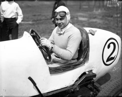 Chicagoan Billy Arnold won the Indianapolis 500 in 1930 but crashed the following year just a few miles from a second victory. Arnold was seriously injured in the crash at Indy and used Roby Speedway, seen here, as conditioning grounds to get his stamina back, circa May 7, 1932. Roby Speedway was a one-mile oval dirt track in Hammond, Indiana. Arnold won three featured races at Roby speedway on May 8, 1932. He then left for Indianapolis where he raced in his last Indy 500 in 1932. He led 57 laps before crashing on lap 59, breaking his collar bone. Arnold was averaging 111.645 miles per hour in his last race.