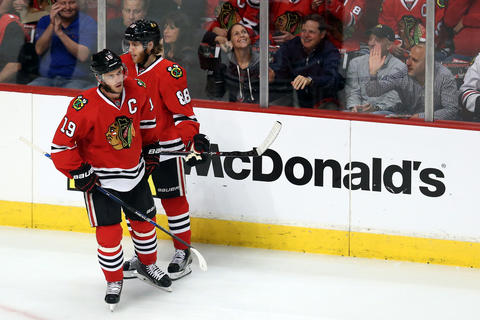 Jonathan Toews with Patrick Kane during Game 6 at the United Center vs. the Ducks.