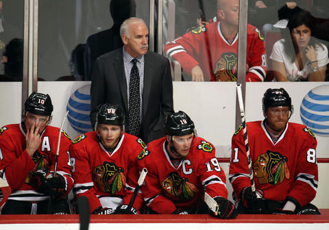Patrick Sharp, Patrick Kane, Jonathan Toews, Marian Hossa and coach Joel Quenneville watch the final minutes of the third period during Game 2 of the Western Conference Final.
