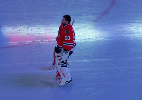 Blackhawks goalie Corey Crawford on the ice before a game