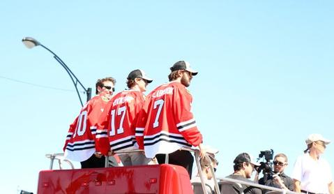It's Brent Seabrook and the man voted to most likely stare at his own reflection on the ice.... Patrick Sharp.