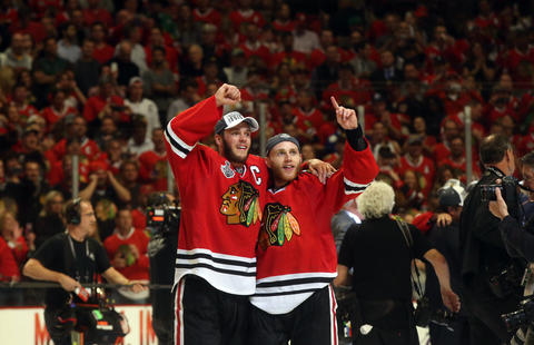 Jonathan Toews and Patrick Kane celebrate after defeating the Tampa Bay Lightning in Game 6 of the Stanley Cup Final at the United Center.