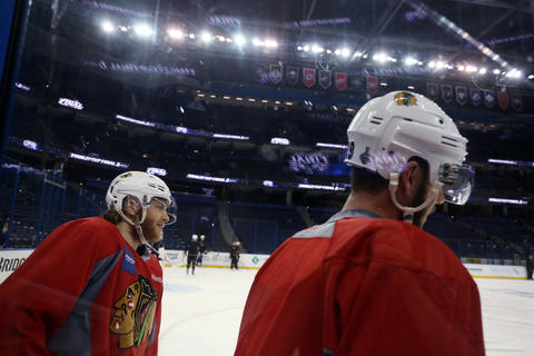 Patrick Kane and Jonathan Toews during practice before the Stanley Cup Final at Amalie Arena.