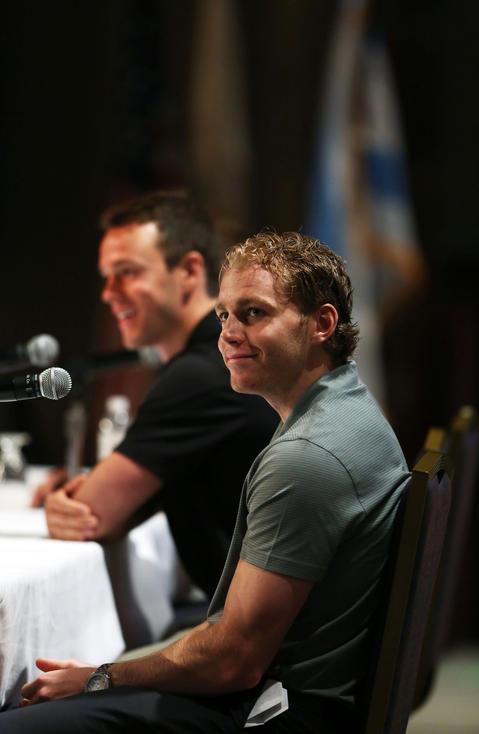 Blackhawks Conn Smythe trophy winners Patrick Kane and Jonathan Toews during the Blackhawks Fan Convention .