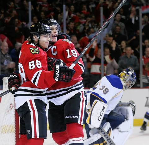 Blackhawks center Jonathan Toews (19) celebrates with right wing Patrick Kane (88) after his goal against the Blues during Game 3 of the Stanley Cup playoffs series on April 21, 2014.