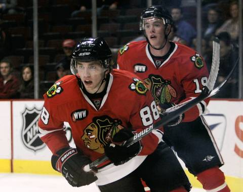 Patrick Kane (88) and Jonathan Toews play their first game together as members of the Blackhawks against the San Jose Sharks on Oct. 10, 2007.