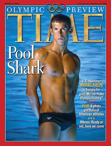 Michael Phelps is featured on the cover of Time's 2004 Olympics preview.