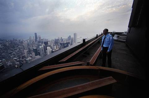 Security officer Todd Marshall worked from 3 to 11 p.m. at Sears Tower in 2002. His daily routine included inspecting the skyscraper from the rooftop to the loading docks to the bottom floor of the garage.