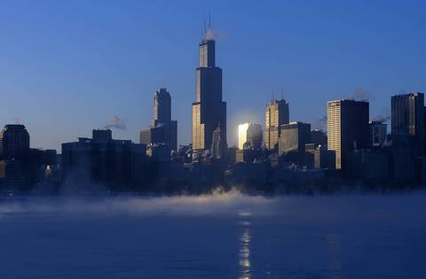 The Sears Tower rises above the skyline in a view from the Adler Planetarium on a below-zero day in 2009.