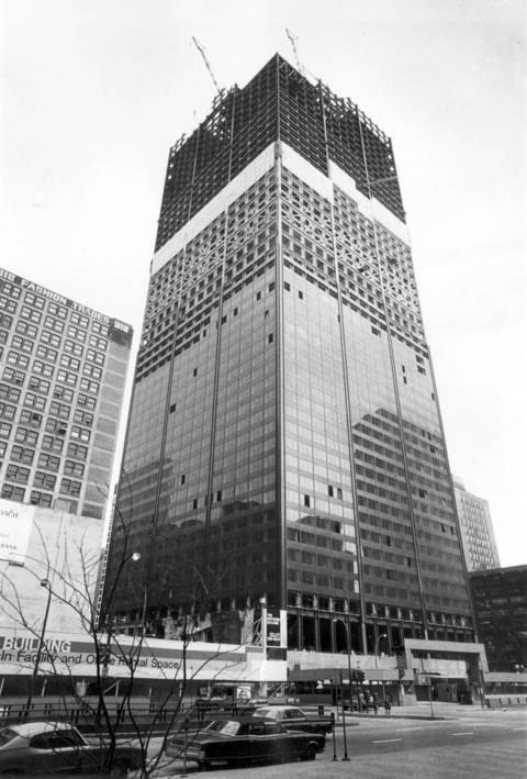 View from Wacker Drive in 1972 of the Sears Tower under construction.